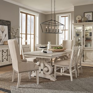 7-Piece Farmhouse Dining Table Set with Arm Chairs