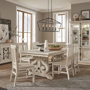 7-Piece Farmhouse Dining Table Set with Side Chairs