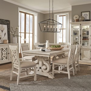 7-Piece Farmhouse Dining Table Set with Upholstered Side Chairs
