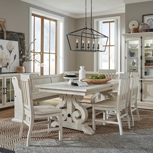 6-Piece Farmhouse Dining Table Set with Bench