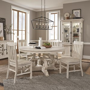 5-Piece Farmhouse Dining Set with Round Table