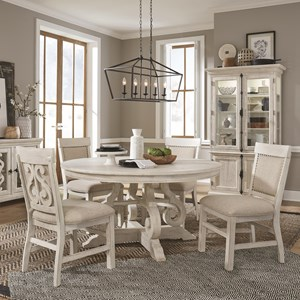 5-Piece  Farmhouse Dining Table Set with Upholstered Chairs