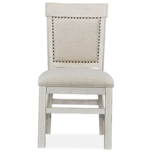 Farmhouse Upholstered Dining Side Chair with Fretwork