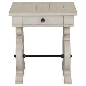 Rectangular Farmhouse End Table with Metal Stretcher