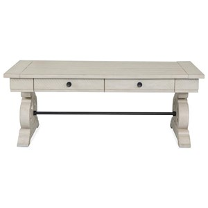 Rectangular Farmhouse Cocktail Table with Metal Stretcher