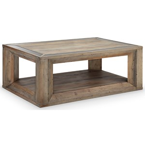 Rustic Rectangular Cocktail Table with Casters
