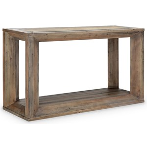 Rustic Rectangular Sofa Table with Glass Insets