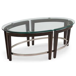 Contemporary Wood and Glass Oval Cocktail Table