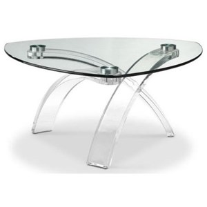 Contemporary Glass Top Cocktail Table with Acrylic Base