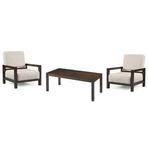 Magnussen Home Cavelle Rectangular Cocktail Table (w/ 2 upholster