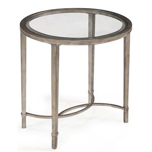 Metal and Glass Oval End Table