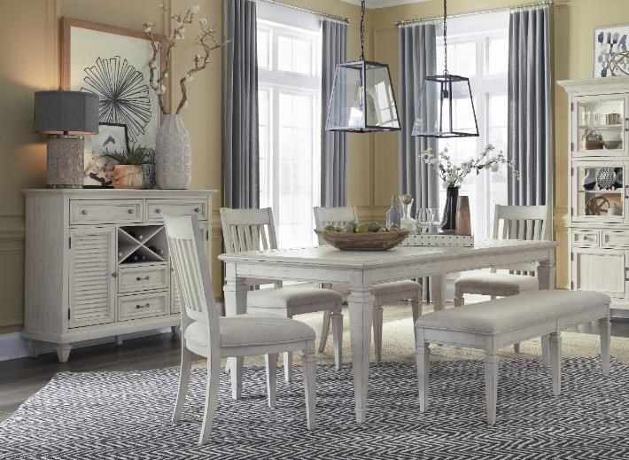 D5430 Alabaster Lancaster Rectangular Table x 4 Side Chairs by Magnussen Home at Furniture Fair - North Carolina