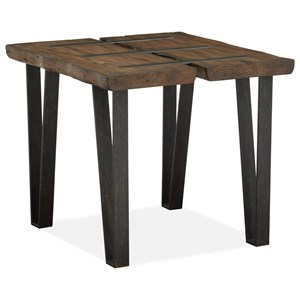 Rustic End Table with Metal Stretchers