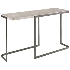 Contemporary Rectangular Sofa Table with Metal Base