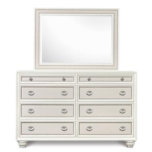 Magnussen Home Diamond Bedroom Drawer Dresser and Landscape Mirror