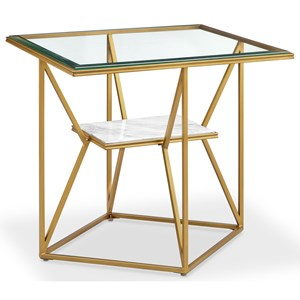Contemporary Rectangular End Table with Marble Shelf