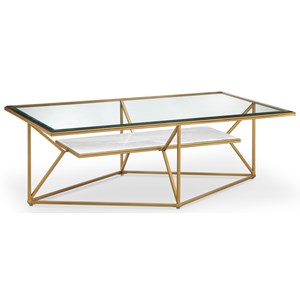 Contemporary Rectangular Cocktail Table with Marble Shelf