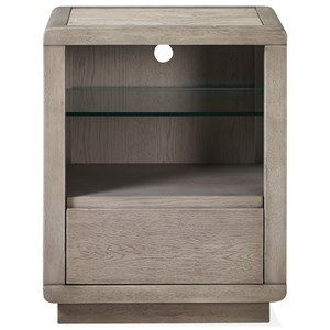 Open Nightstand with Inset Stone Top and Wire Management