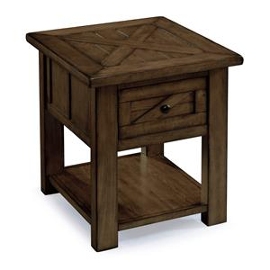 Rustic Industrial End Table with One Drawer