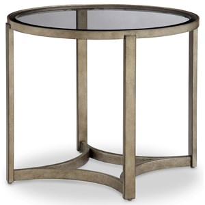 Oval End Table with Glass Top