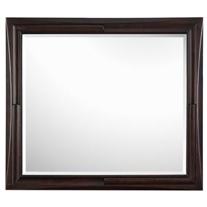 Beveled Glass Landscape Mirror with Shaped Black Cherry Frame