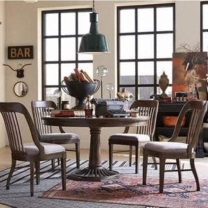 Traditional Dining Set with Round Table and Four Side Chairs