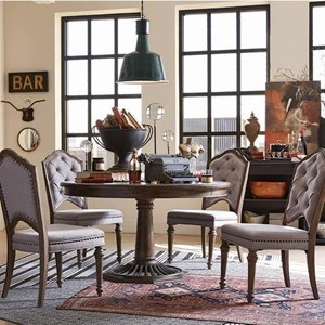 Traditional Dining Set with Round Table and Four Upholstered Side Chairs