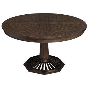 Vintage Round Dining Table with Pedestal Base