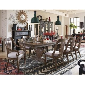 Traditional Dining Set with Six Side Chairs and Two Arm Chairs