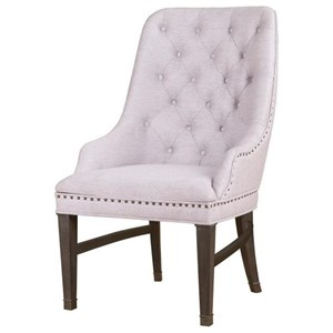 Upholstered Arm Chair with Button Tufting and Nailhead Trim