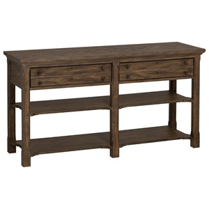 Rustic Rectangular Sofa Table with Two Drawers