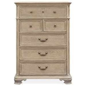 Relaxed Vintage 6-Drawer Chest with Felt-Lined Top Drawer