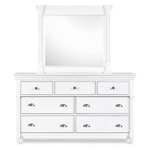 7-Drawer Dresser & Framed Landscape Mirror