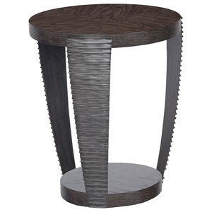 Contemporary Round End Table with Open Shelf