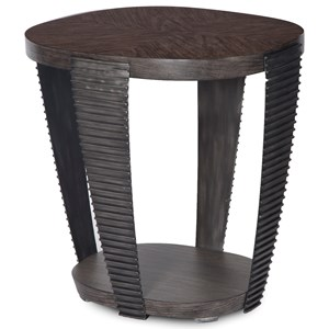 Contemporary Oval End Table with Open Shelf