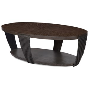 Contemporary Oval Cocktail Table with Open Shelf and Casters