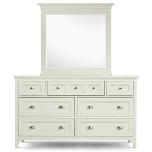 Double Dresser With 7 Drawers and Drop Down Front On Top Center and Beveled Landscape Mirror