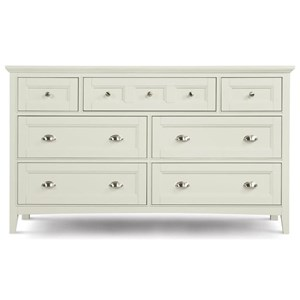 Double Dresser With 7 Drawers and Drop Down Front On Top Center
