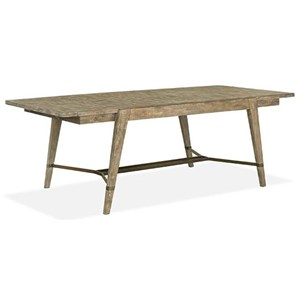 Rustic Rectangular Dining Table with Breadboard Leaves