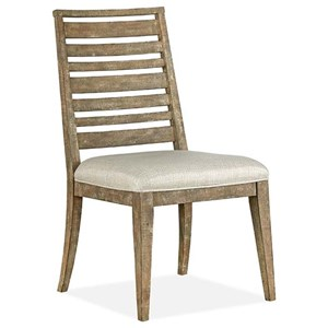 Rustic Dining Side Chair with Upholstered Seat