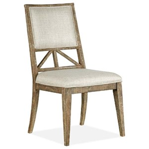 Rustic Dining Side Chair with Upholstered Seat and Back