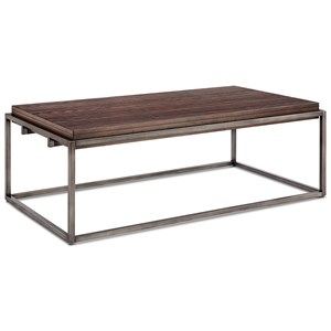 Rectangular Cocktail Table with Metal Tube Base