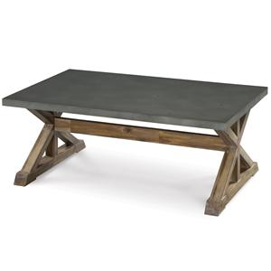 Rectangular Cocktail Table with Stone Top and Wooden Trestle Base