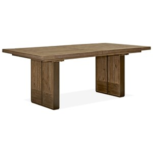 Contemporary Rustic Rectangular Dining Table with Center Leaf
