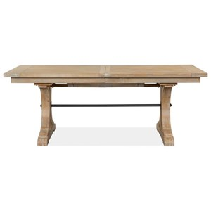 Relaxed Vintage Trestle Dining Table with Removable Leaf