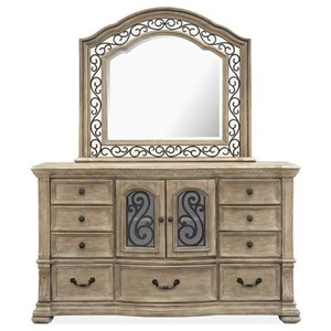Traditional 9-Drawer Dresser and Mirror Set