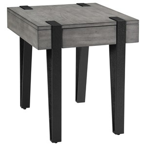 Industrial End Table with Hairpin Legs and Drawer