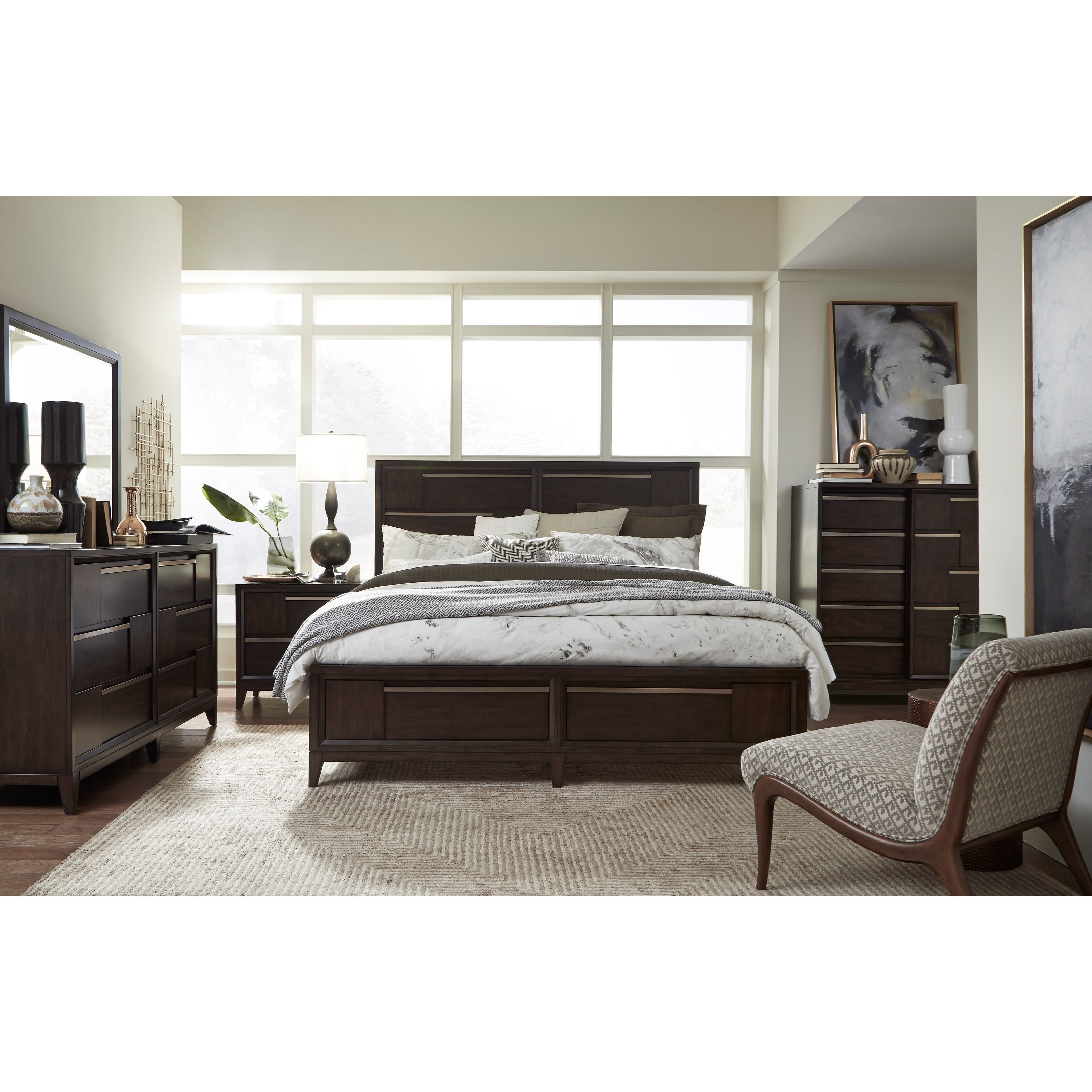 Modern Geometry Queen Bedroom Group by Magnussen Home at Upper Room Home Furnishings