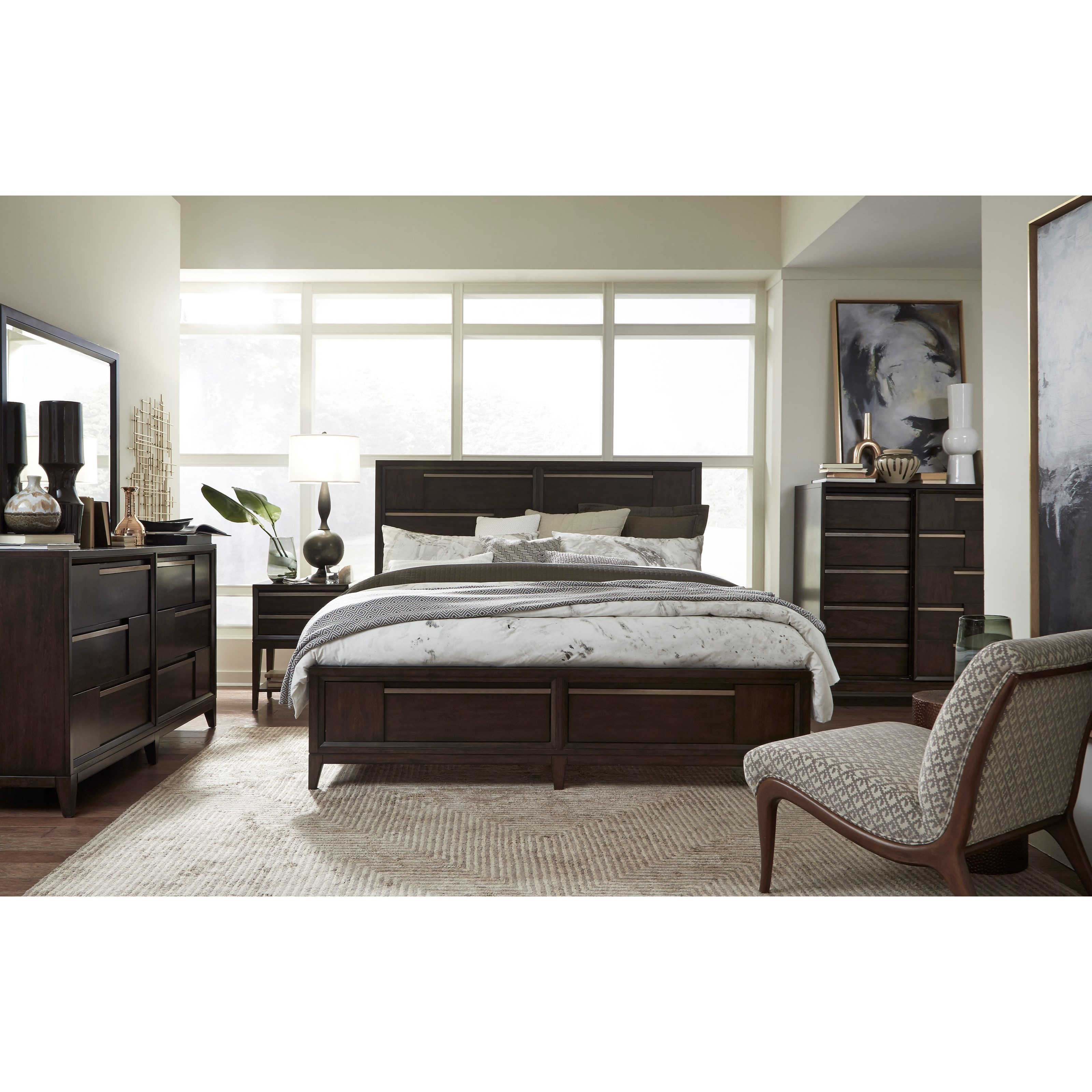 Modern Geometry California King Bedroom Group by Magnussen Home at Suburban Furniture