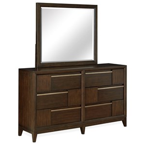 Contemporary Mirror and 6 Drawer Dresser with Felt Lined Drawers